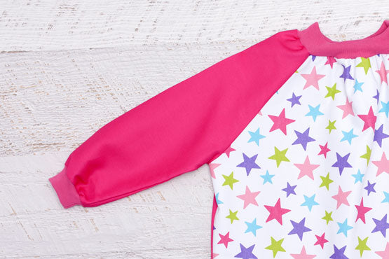 Pink Stars Kids Smock with Pink Sleeves
