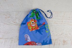 Large drawstring library bag with colourful critters