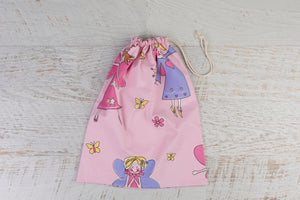 Large drawstring library bag with fabulous fairies.