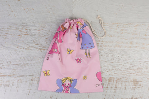 Large drawstring library bag with fabulous fairies all over.