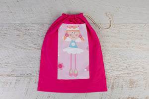 Large Pink drawstring bag which features gorgeous fairy patch