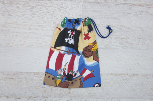 Large drawstring bag which features colourful pirate image