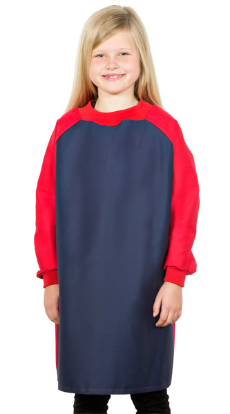 Girl wearing Navy art smock with Red sleeves