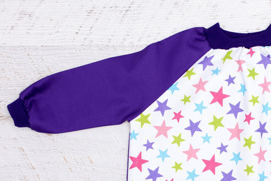 Pink Stars Kids Smock with Purple Sleeves