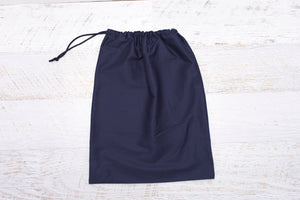 100% cotton drawstring Library Bag in versatile Navy fabric