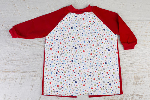 Splash art smock with RED sleeves