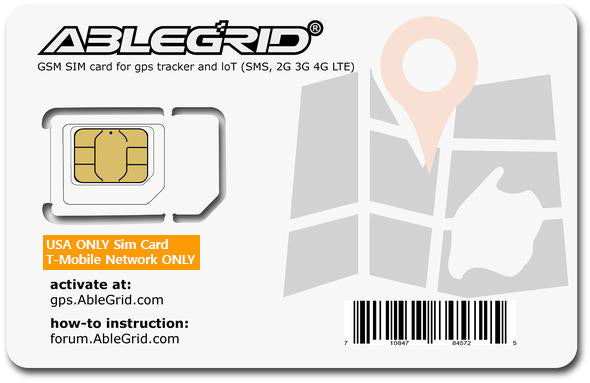 [NO VOICE]Ablegrid® Sim Card GSM, USA ONLY,  2G 3G 4G LTE for any GSM GPS Tracker and IoT devices