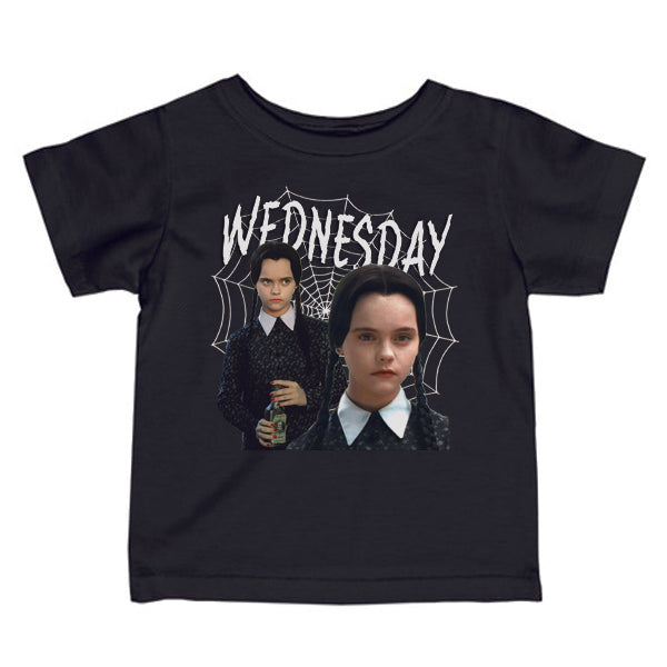 WEDNESDAY ADDAMS KIDS TEE SHIRT | BLACK