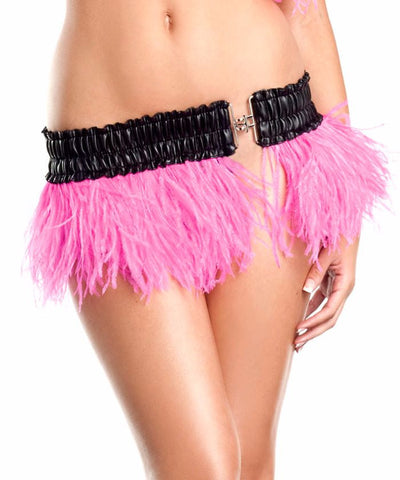 Hot Pink Ostrich Feather Mini Skirt