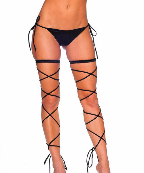 Black Garter Set w/ Leg Wraps