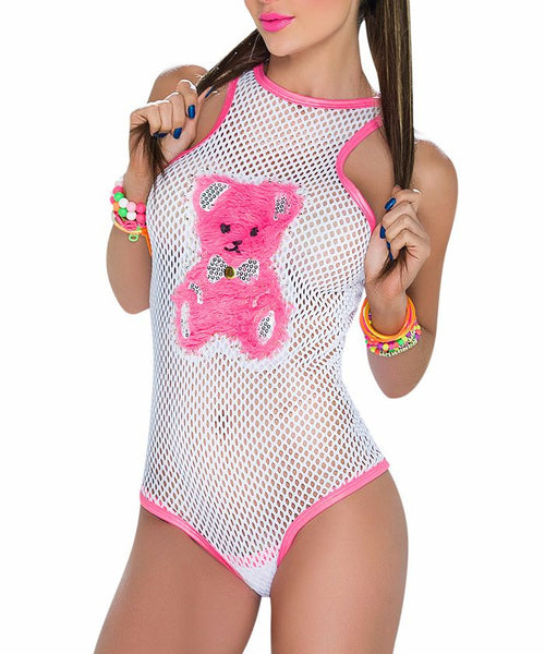 Teddy Bear Fishnet Bodysuit Romper