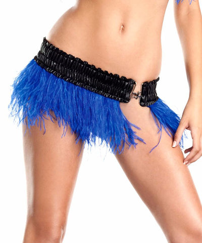 Blue Ostrich Feather Mini Skirt