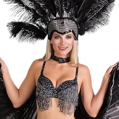 Black Silver Fringed Bra