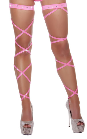 Rhinestone Leg Wrap with Attached Garter