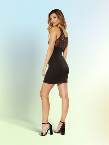 Dress with Star Shaped Glitter Sheer Mesh Top and Lined Cup Detail