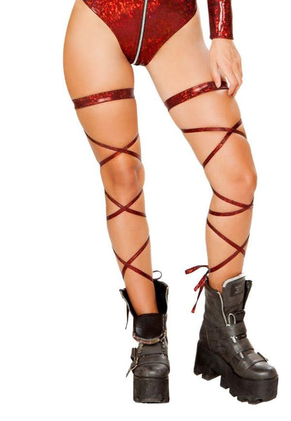 Broken Glass Leg Wraps with Attached Garter