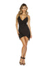 Black Spaghetti Strap Satin Dress with Overlapping Scrunch Detail