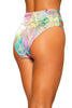 Rainbow Splash Cutout High-Waisted Shorts with Zipper Closure