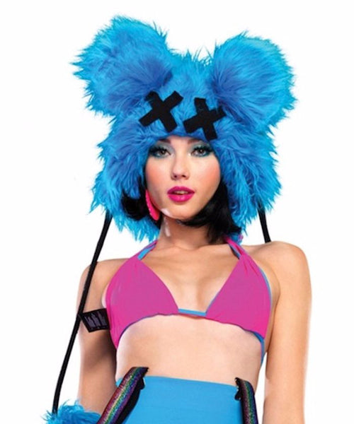 Turquoise Dead Mouse Furry Hood