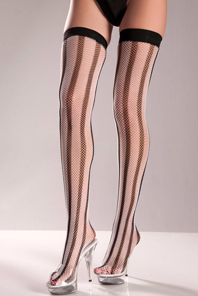 Vertical Striped Fishnet Thigh Highs