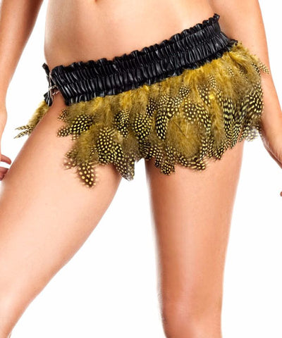 Yellow Spotted Feather Mini Skirt