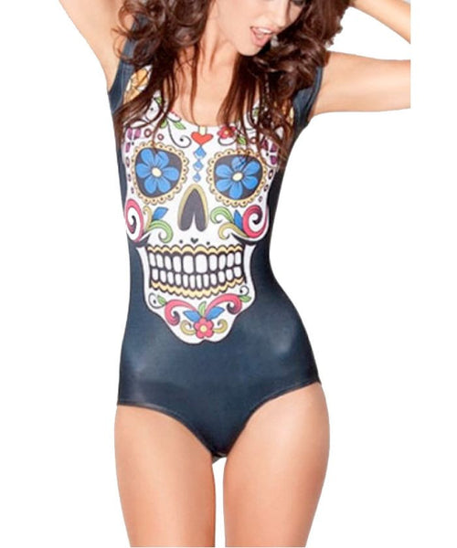 Sugar Skull Print One Piece Swimsuit