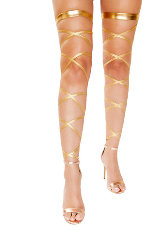 Gartered Metallic Leg Wraps