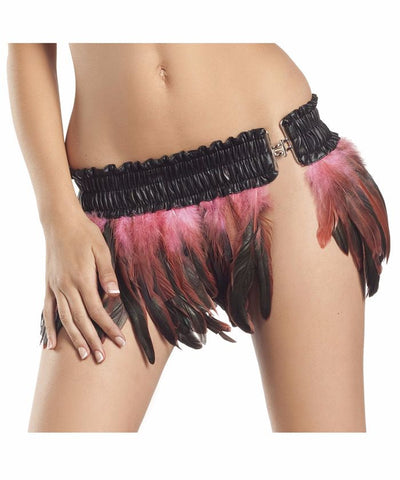 Bubble Gum Pink Feather Mini Skirt