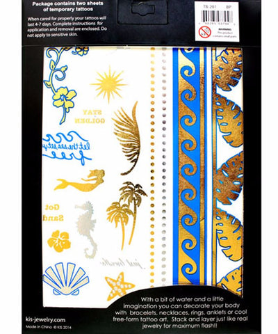 Beach Party Metallic Tattoos (2 Sheets)