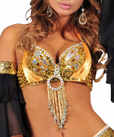 Gold Sequin Butterfly Bra Top