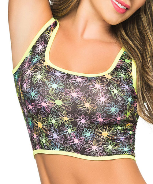 Daisy Print Cropped Tank Top