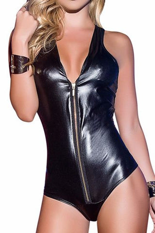 Bad Girl Zip Up Bodysuit Romper