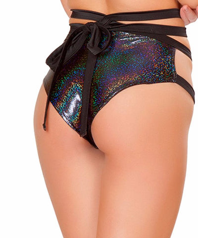 Black Twinkle Wrap Shorts