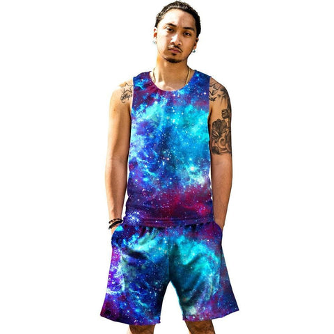 Blue Galaxy Tank and Shorts Rave Outfit