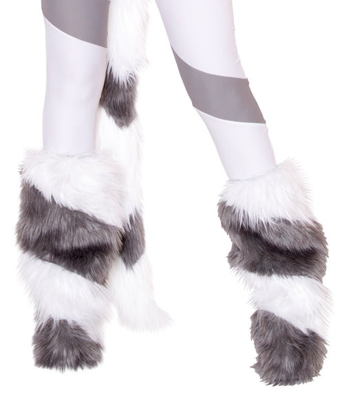White & Gray Diagonal Legwarmers