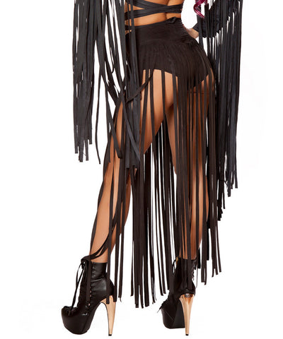 Black Suede Long Fringe Shorts