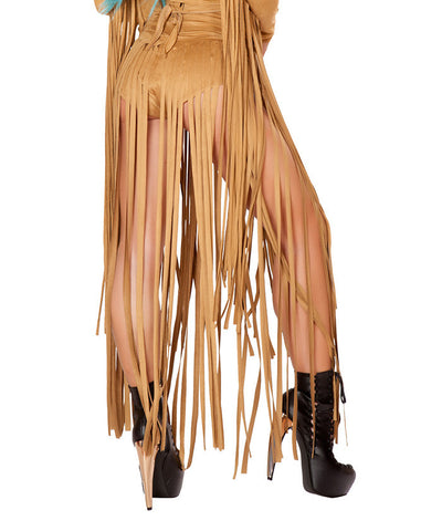 Honey Suede Long Fringe Shorts