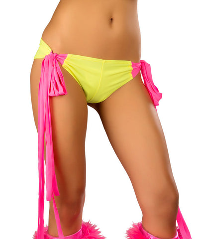 Yellow & Pink Fringe Tie-Shorts