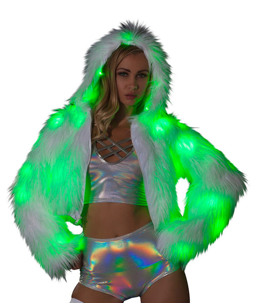 Green Light-Up Fur Cropped Jacket