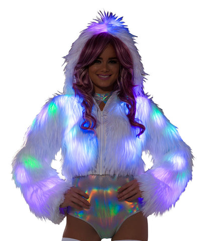 Multi-Color Light-Up Fur Cropped Jacket