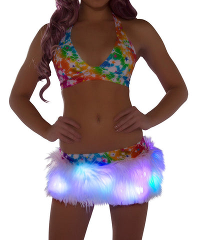 Light-Up Pretty Cosmos Fur Skirt & Halter Set