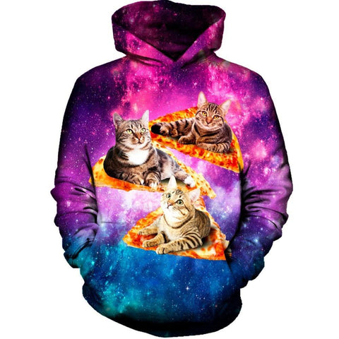 Space, Cats, and Pizza Hoodie