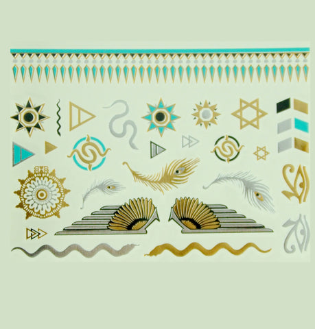 World of Nations Metallic Tattoos