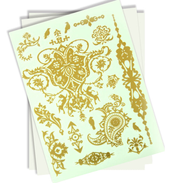 Love in Paradise Metallic Tattoos
