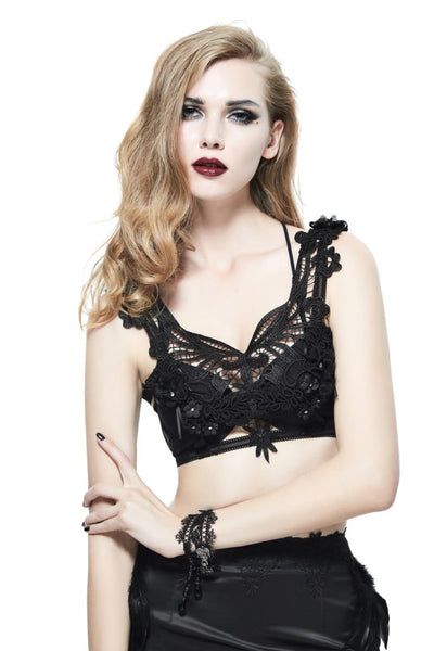 Gothic Floral Feather Harness Bra