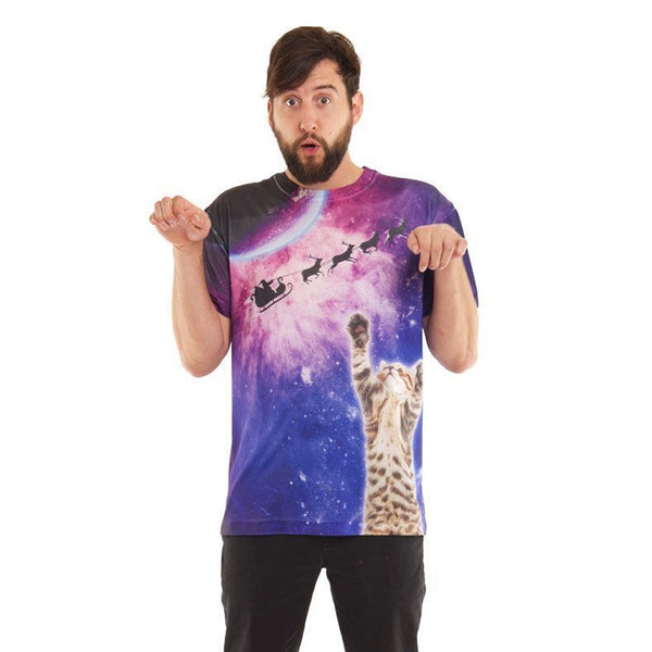 Galactic Christmas Cat T-Shirt