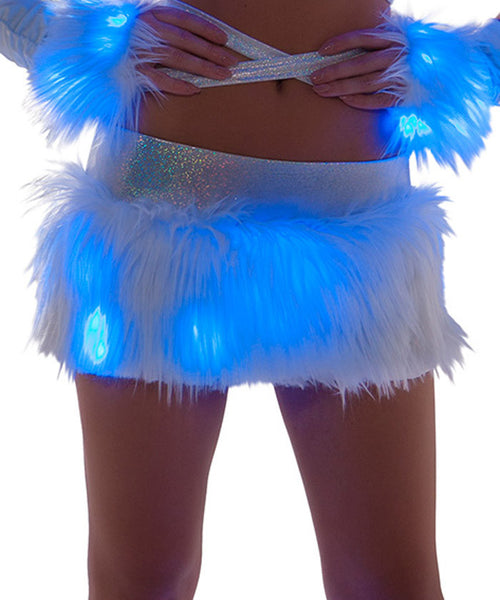 Blue Light-Up Fur Skirt