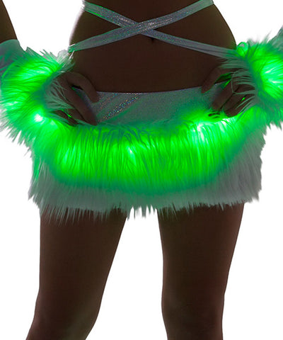 Green Light-Up Fur Skirt
