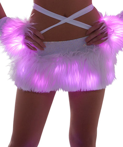 Pink Light-Up Fur Skirt