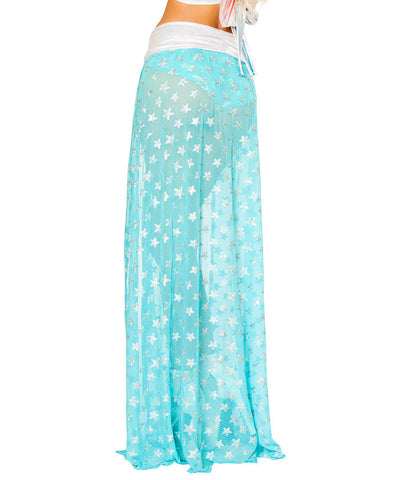 Aqua Sequin Star Mesh Gypsy Skirt